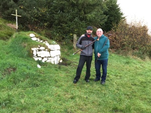 Colin McGuire (left) and Martin Forrest (right) at the Tobereenkilgrania holy well, which was previously the site of patterns.